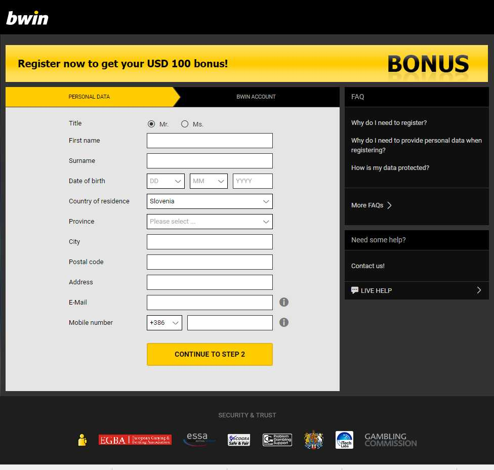 Bwin regisrtation