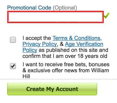 William Hill code promo