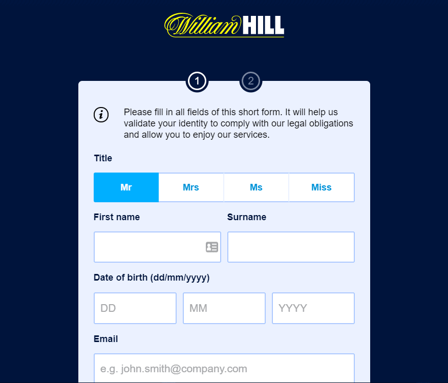 William Hill application mobile