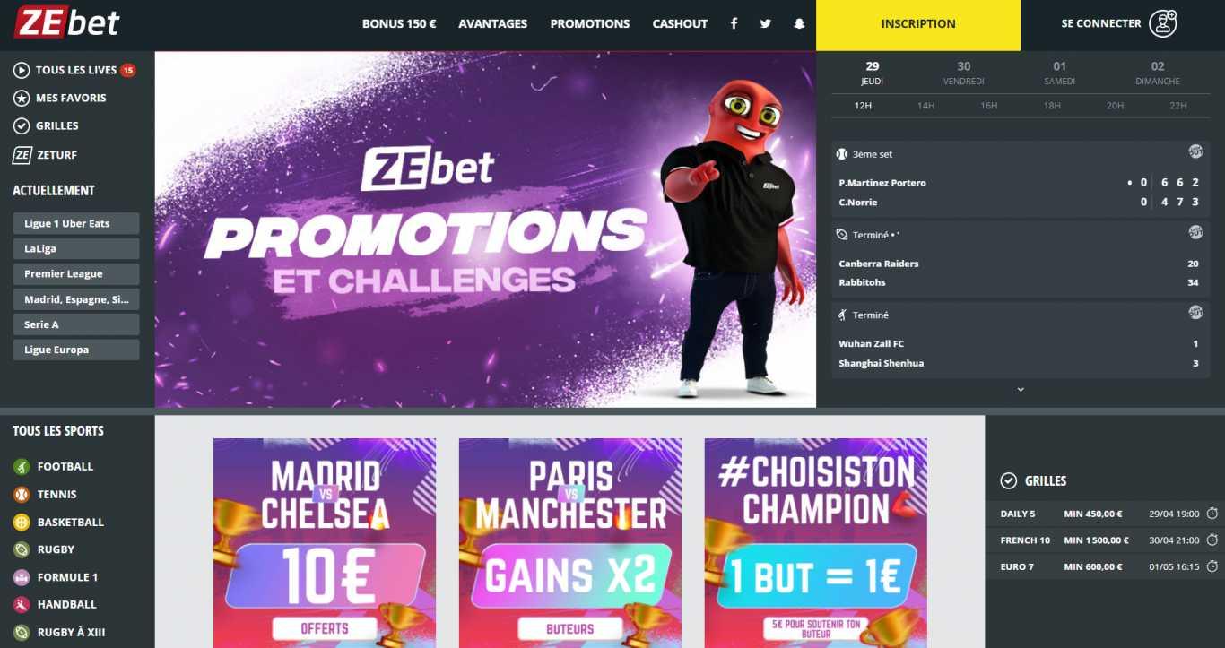 Particularités de la récompense pour le code promo auprès de Zebet